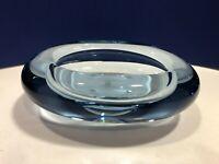 Vintage MCM Holmegaard Ice Blue Provence Sculptural Bowl Signed Per Lutken 1961