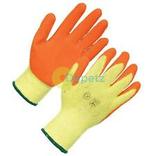 PAIRS LATEX COATED BUILDERS SAFETY GRIP WORK GLOVES MENS RUBBER GARDENING SMALL
