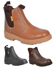 Mens Safety Chelsea Dealer Ankle Boots Steel Toe Cap Midsole Leather Work Shoes