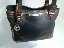 Vintage Brighton Black Shoulder Bag Bucket Brown Accents