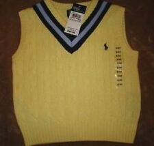 New Polo Ralph Lauren Boys Yellow Golf Sweater Vest 6 Navy Pony Cable