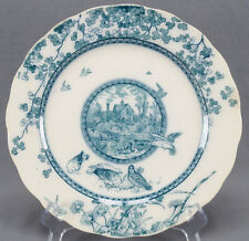 William Brownfield & Sons Woodland Pattern Green Transferware Plate C. 1876 - 92
