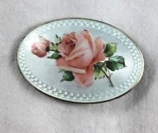 "Great Vintage Enamel Rose Sterling Brooch/Pin- 2"" x 1 3/8"""