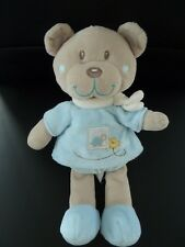 S8- DOUDOU OURS TEX BABY CARREFOUR BEIGE BLEU TORTUE where are  26cms -  TBE