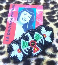 1970s WOMEN BEADED HAIR BARRETTE~ AMERICAN INDIAN EAGLE SYMBOL ~MADE IN USA~ NEW