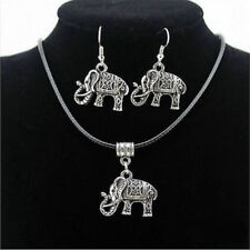 Awesome New Tibetan Silver Elephant Pendant Necklace & Hook Dangle Earring Set