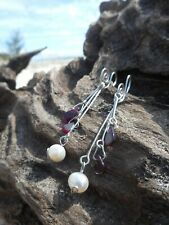 White Pearl Garnet 925 Sterling Silver wire sculpted Earrings
