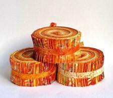 "JELLY ROLL 40 x 2.5"" Strips 100 % Cotton Batik, Shades of Orange"