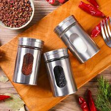 2 Pc Stainless Steel Glass Bottom Salt & Pepper Shaker Adjustable Pour Holes