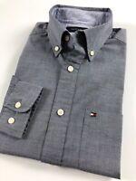 TOMMY HILFIGER Shirt Men's Indigo Grey End-On-End Classic Fit 7897746-416