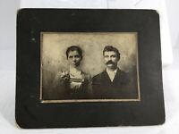 Vintage Antique Cabinet Photo Man Big Mustache & Woman Serious Expressions