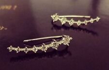 Gold Plated Crystal Rhinestone Ear Cuff Clip Earrings Climber stud Rings ecf03