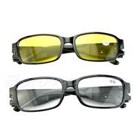 Multi Strength Night Vision Reading Glasses Presbyopia Diopter Eyeglass LED Hot