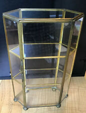 """Vintage Small Brass And Glass Curio Case Display Cabinet 10""""X6""""X2 1/2"""""""