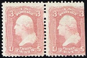 """US Sc# 65 *MINT OG NH* { 1c WASHINGTON PAIR } ROSE SHADE 1861 """"SCARCE CV$ 750.00"""