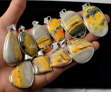Sterling Silver Plated Bezel Pendants Pl-2 10 Pcs Natural Bumblebee Jasper 925