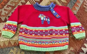 Hanna Andersson baby 9-12m (70) Nordic Dala Horse multicolor knit sweater
