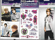 JUSTIN BIEBER TEMPORARY TATTOOS AND LARGE DECALS 3 PACKS set A NEW FREE SHIPPING