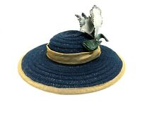 Straw Doll Hat, Blue with Flower