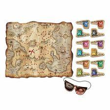 PIRATE TREASURE MAP BIRTHDAY PARTY SUPPLIES POSTER WITH STICKERS GAME ACTIVITY