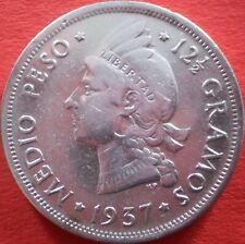DOMINICAN REPUBLIC ½ PESO 1937 SILVER Dominicana Dominikanische Dominicaine Dom