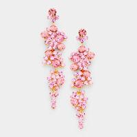"Pink Crystal Rhinestone 3.25"" Earrings Chandelier Pageant Prom"