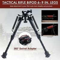 Tactical Rifle Bipod with 6-9 Inch Adjustable Legs and 360 Degree Swivel Adapter