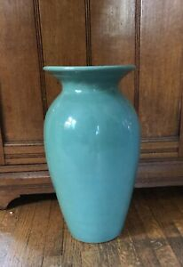 "Vintage Bauer Large Pottery Fred Johnson Turquoise Green Baluster Vase 14 1/2"" T"