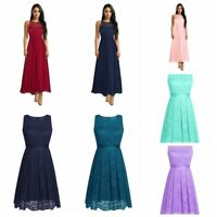 Women Lace Short Prom Floral Formal Evening Cocktail Party Bridesmaid Gown Dress