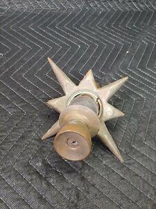 Vtg Atomic Star Mid-Century Starburst MCM Brass Escutcheon Door Knob 1950 Plate