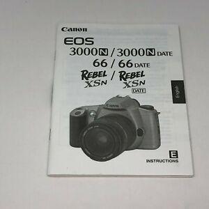 Canon EOS Rebel 3000 / 66 XSN Film Camera English User Manual Instruction Guide