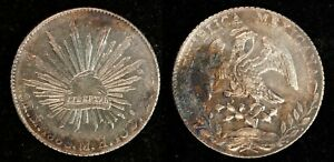 1885 Mo MH Mexico Silver 8 Reales Radiant Cap / Eagle / Snake 8R AU+ Coin