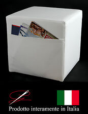 POUFF POUF PUFF CUBO BIANCO TASCA PORTARIVISTE MADE IN ITALY IDEA REGALO