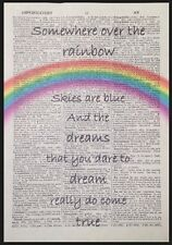 Somewhere Over The Rainbow Lyrics Vintage Dictionary Print Wizard Of Oz Wall Art