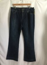 Eddie Bauer Women's Flare Boot Cut Jeans Size 16 Tall Mid Rise Blue Stretch