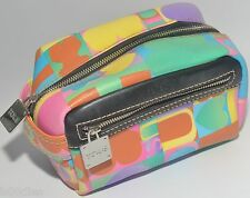 TOUS PASTEL COSMETIC TOILETRY BAG CASE MULTI-COLOUR LEATHER & WATERPROOF CANVAS