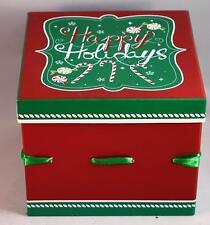 Colorful Hard Cardboard Covered Paper Ribbon Christmas Gift Box Holiday Decor