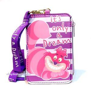 Disney Coin Purse Badge ID Credit Card Holder Case Wallet w/ Zipper Bag Lanyard