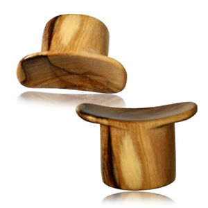 Single CONCAVE OLIVE WOOD LABRET PLUGS LIP GAUGES GAUGE ORGANIC PLUG
