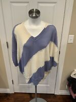 Zadig & Voltaire Cream & Blue Oversized Short Sleeve V-Neck Sweater, Size XS