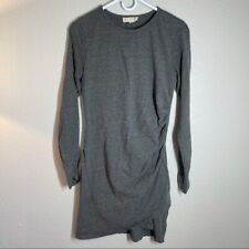 Synergy Organic Clothing Gray Long Sleeve Dress Ruched Medium M 100% Cotton