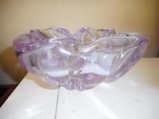 CHUNKY MODERNIST BLOWN ALEXANDRITE NEODYMIUM  SWIRLED  GLASS BOWL / ASHTRAY
