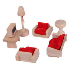 Wooden Furniture Dolls House Family Miniature 6 Room Set Doll Toy Game Kids Gift Living Room
