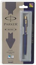Parker Classic Matte Navy Blue GT Gold Trim Ball Pen, Blue Ink, Fine Tip, Jotter