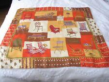 "Vintage Original Longchamp Paris Silk Scarf "" Chairs "" Brown / Orange"