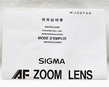 Sigma AF Zoom Lens Instructions Guide Product Chart