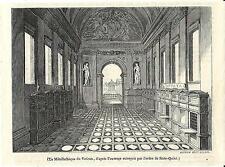 Stampa antica ROMA Sala del Minerali VATICANO 1844 Old antique print Rome