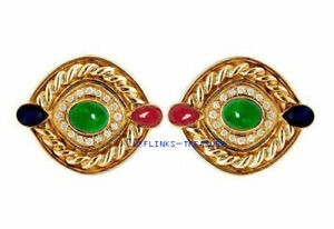 Natural Ruby sapphire & Emerald stone 925 Sterling Silver Gold Plated Cufflinks