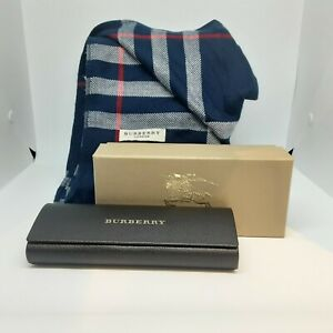 Authentic Burberry Check Navy Scarf 200x70cm, Gift Box and Glasses Case Gift Set