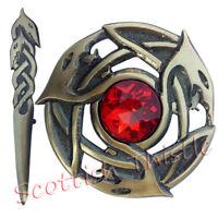"Scottish Kilt Pin Antique Finish 4""/Celtic Serpents Fly Plaid Brooch Red Stone"